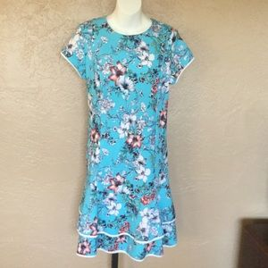 Shelby & Palmer Aqua Floral Print Midi Dress 16